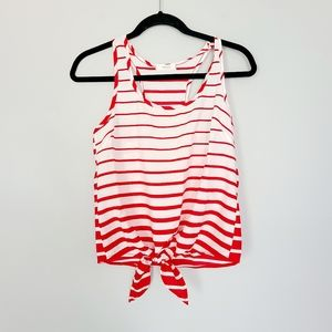 ☀️ 3/$15 Poetry White & Red Striped Tank S